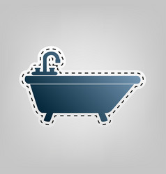 Bathtub sign   blue icon with vector