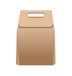 Full simple paper bag with handle isolated vector