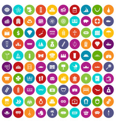 100 wealth icons set color vector