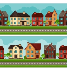 Town seamless borders with cottages and houses vector