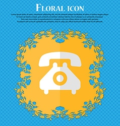 Retro telephone handset floral flat design on a vector