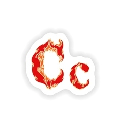 sticker fiery font red letter C on white vector image
