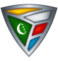 Steel shield with flag comoros vector