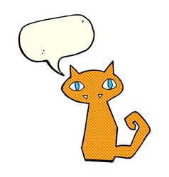 Cartoon cat with speech bubble vector