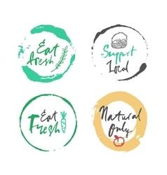 Natural food label set vector
