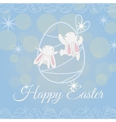 Two white easter bunny climber vector