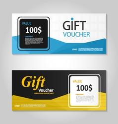 Premium elegance blue gold gift voucher template vector