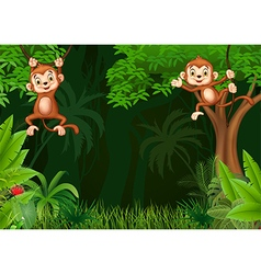 Cute monkey hangin in the jungle vector