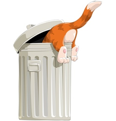Cat in trash vector