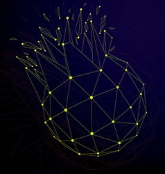 3d digital wireframe spherical object broken into vector