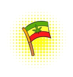 Cannabis leaf on rastafarian flag icon vector