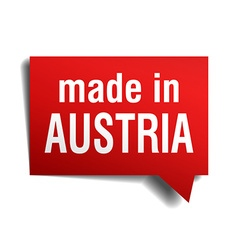 Made in austria red 3d realistic speech bubble vector