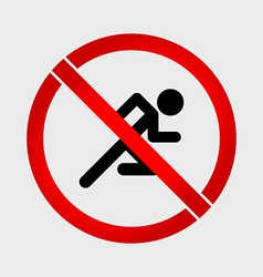 No run prohibition sign vector