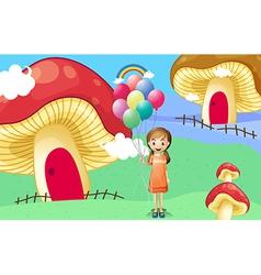 A girl with balloons near the mushroom houses vector image
