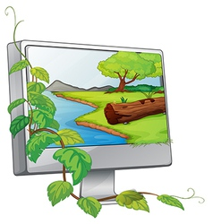 A monitor showing a river in a forest vector image vector image