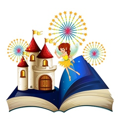 A storybook with a flying fairy near the castle vector image vector image