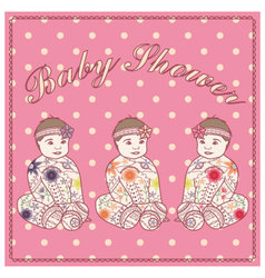 Baby-shower-girl-vintage-baby-girl-triplets vector image vector image