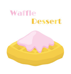 Belgian waffle with cream tasty breakfast vector