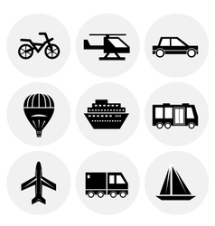 black transportation icons vector image vector image