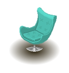 Blue armchair pixel style vector image vector image
