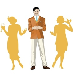 Caucasian male party host with female guests vector image vector image
