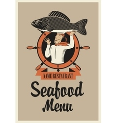 chef with fish vector image vector image