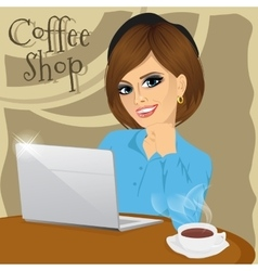 College student with laptop in coffee shop vector