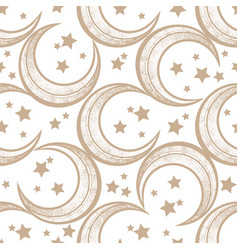 crescent moon seamless pattern with stars vector image vector image