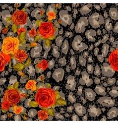 Dark leopard skin and orange roses vector