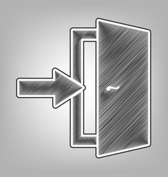 Door exit sign pencil sketch imitation vector