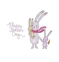 Family of cute cartoon rabbits funny animals vector