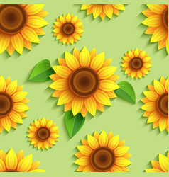 Floral green seamless pattern with 3d sunflowers vector image vector image