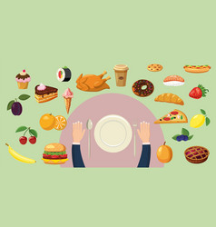 Food horizontal banner plate cartoon style vector