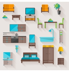 Furniture home flat icons set vector