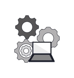 Gears and computer icon vector