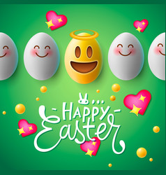 Happy easter poster easter eggs with smiling face vector