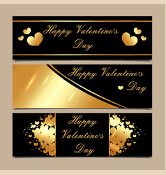 happy valentines day luxury gold and black vector image vector image