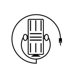 Microphone music vintage equipment outline vector
