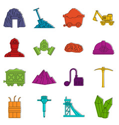 Miner icons doodle set vector