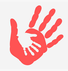 mother and child handprint palm of woman and baby vector image