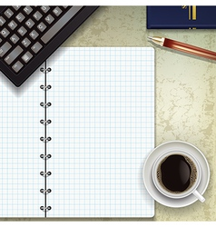 office desk with keyboard coffee and notepad vector image vector image