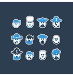 Pirate ship crew avatars set vector