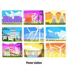 power station set electricity generation plants vector image