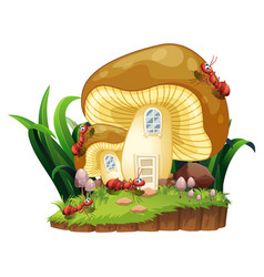 Red ants and mushroom house in garden vector