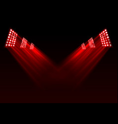red stage lights background vector image vector image