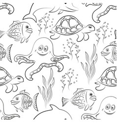 sea creatures seamless vector image