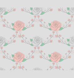 Seamless pattern with drawn flowers roses with vector