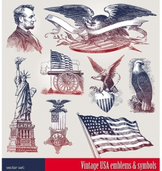 set of American symbols vector image
