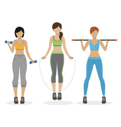 set of fitness girls vector image