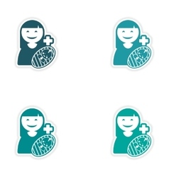 Set of stickers mother and son on white background vector